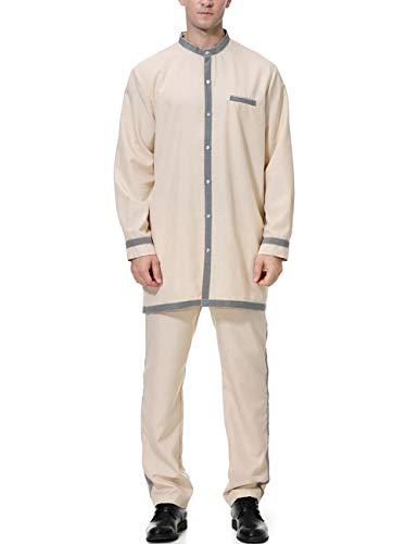 Zhhlinyuan Mens Arabic Dress Long Sleeve Top Shirt Dishdasha Muslim Thobe M-XXXL