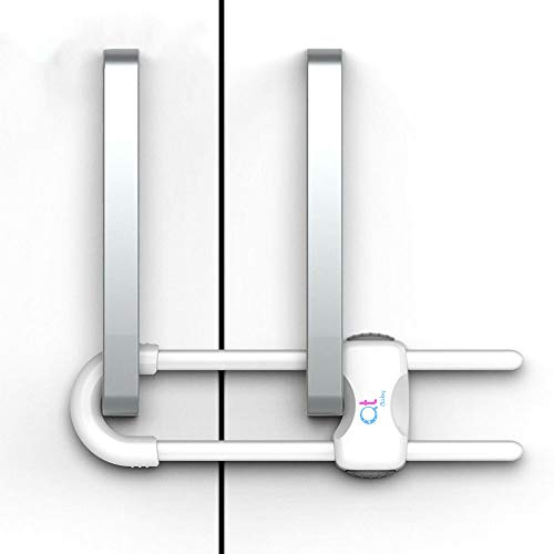 QT BABY Baby Proofing Cabinet Locks | Adjustable U Shaped Baby Safety Latches for Drawers, Fridge, Closet |Modern Baby Proofing Cabinet Lock with Extra Secure Lock Buttons - 2 Pack
