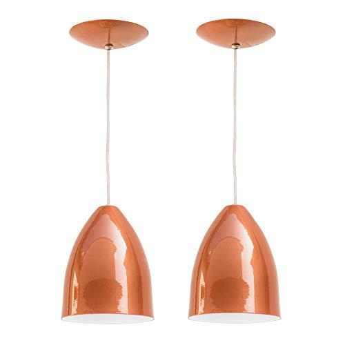 Combo Kit com 2 Pendentes Luminária Soft Cone Alumínio 18cm Cobre e Branco E27 110V/220V (Bivolt) Teto Interno Quarto Sala Cozinha