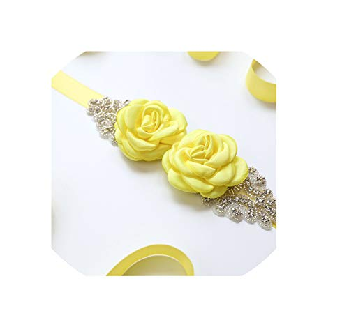 Pink Sapphire Yellow Brooch - Vicky Pink White Flower Belts for Women Girl Flower Style Bridal Prom Dress Accessories Bridesmaid Floral Belt,Yellow