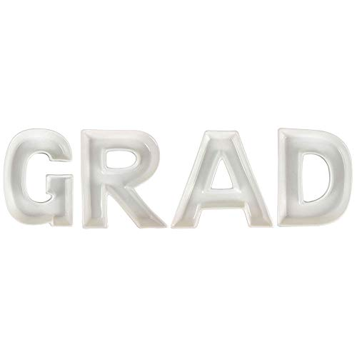 Just Artifacts 5.5inch White Ceramic Letter Dish Set - Letters: GRAD - Decorative Dishes for Weddings, Anniversary, Baby Showers, Birthday Parties, and Life Celebrations!