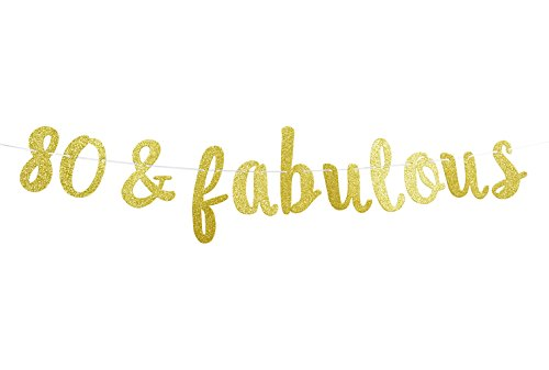 FirefairyTM 80 & Fabulous Cursive Banner- Happy 80th