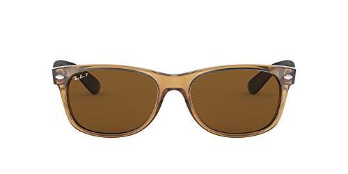 Ray-Ban RB2132 New Wayfarer Polarized Sunglasses, Honey/Polarized Crystal Brown, 55 mm (Ray-ban New Wayfarer Amazon)