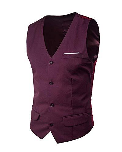Fit Homme Targogo Dunkelrot Neck Unie Slim V 4 Boutons Couleur Loisirs Retro Gilet Business Casual a1wB8wFxq5