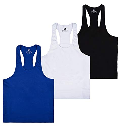 f968d43e9ac72 YSENTO Mens Basic Blank Stringer Tank Top Y-Back Sleeveless Shirts Muscle  Bodybuilding Powerlifting 3 Pack