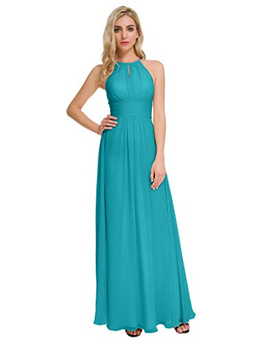 - Alicepub Maxi Bridesmaid Dresses Jewel Neck Prom Gowns Halter Evening Dress, Turquoise, US10