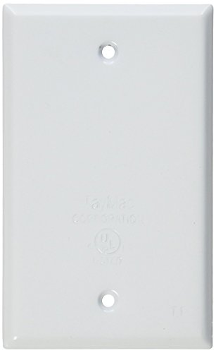 TayMac BC100WH Weatherproof Metallic Device Cover, Blank, Single Gang, White