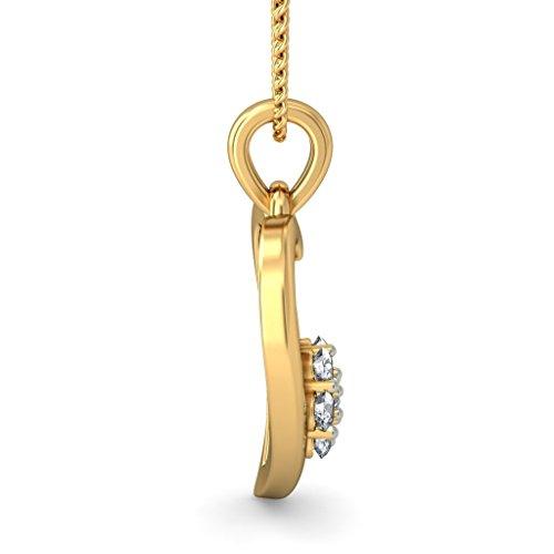 14K jaune Or 0,22CT TW Round-cut-diamond (IJ | SI) Pendentif