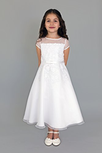 Us Angels Girl's Short Sleeve Organza A-Line Dress w/ Embroidered Appliques (Little Kids/Big Kids) White 10 by US Angels (Image #1)