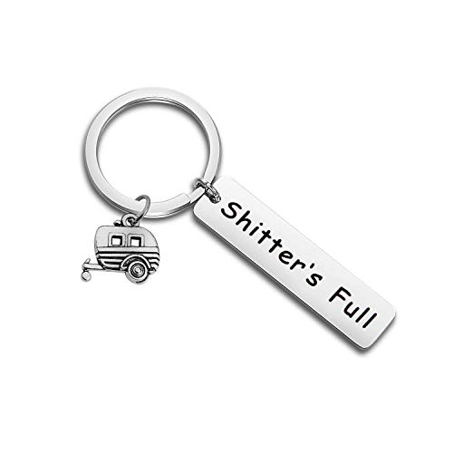 Shitter's Full Keychain Happy Camper Keychain for Women Trailer Vacation Keyring (Best Christmas Gifts For Campers)