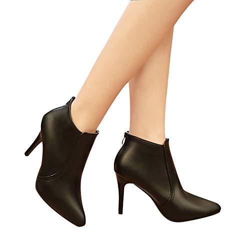 Talons Color Dcontractes Femmes Alikeey Hiver Chaussures Bottes Martin Pure Noir Zipper Ponited Toe Hauts qR00XwzB