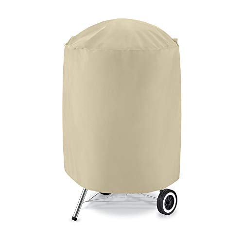 "UNICOOK Outdoor Kettle Grill Cover Small, 600D Heavy Duty Round Smoker Cover 23"" Dia x 25"" H, Perfect for Weber Char-Broil Smokers/Grills, Desert Sand"
