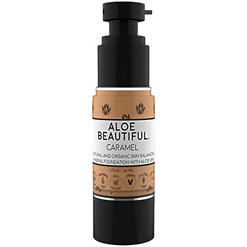 Organic Liquid Mineral Foundation Makeup With Aloe - All Natural Vegan Gluten Free Ingredients - Made In USA, Caramel ()