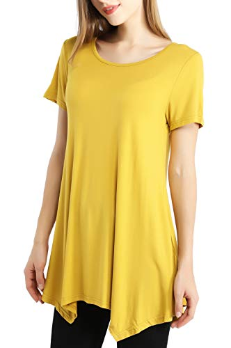 Womens Swing Tunic Tops Short Sleeve Loose Fit Ladies Basic Solid Comfy Flattering T Shirt (3X, Yellow) -