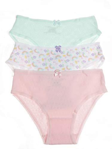 Rene Rofe Girls' Sweet Pointelle Cotton Bikinis - 3 Pack, Lavender/Blushing Bride, Large (10/12)