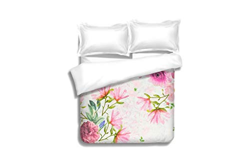 MTSJTliangwan Family Bed Photo of a decoupage Decorated Flower Pattern 3 Piece Bedding Set with Pillow Shams, Queen/Full, Dark Orange White Teal Coral