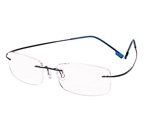 Beison Memory Titanium Stainless Steel Rimless Flexible Reading Glasses (Blue, - Store Titanium
