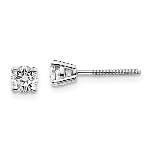 2/5ct Lab Grown Solitaire Diamond Stud Earrings Round cut 4 Prong Screw Back 14k White Gold (D-E Color, VS Clarity)