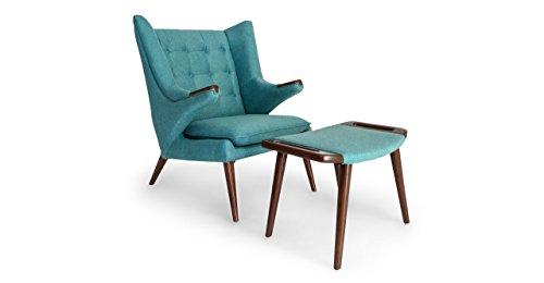 Kardiel Wegner Papa Bear Wing Chair & Ottoman, Dutch Blue Twill, Walnut Legs (Wing Wegner Chair Style)