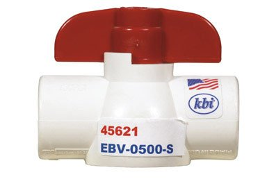 King Brothers Inc. EBV-0500-S Nds 1-Piece Economy Full Port In-Line Ball Valve, 1/2 In, Slip, 150 Psi, Pvc 1/2-Inch