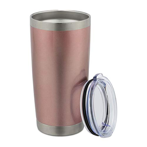 ONEB 20 oz Double Wall Vacuum Insulated Coffee Cup - 18/8 Stainless Steel Travel Mug for Cold & Hot Drinks (Rose gold, 1 Pack)