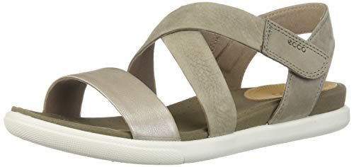 ECCO Women's Women's Damara Crisscross Flat Sandal Moon Rock Silver/Warm Grey 36 M EU (5-5.5 US)