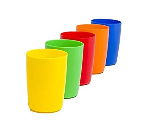 Greenco Set of 5 Unbreakable Reusable Plastic Kids Cups, Assorted Colors, 5 oz. (Fіvе Расk)