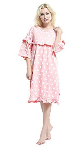Elegante Ropa Interior De Mujeres Manga Camisón Cómoda Las Pijamas White Suelta Impresos Cuello Redondo 3 4 Fashionista Moda 6HwcPdwq1