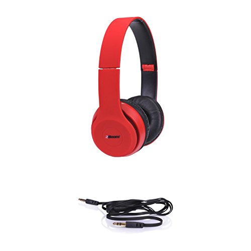 2BOOM Spin Master Over Ear Wired Foldable Headphone Stereo Hands Free Microphone Headset Red
