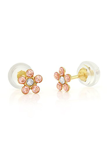 (14K Yellow Gold 2MM Flower Shape Pink CZ Screw Back Children's Earrings)