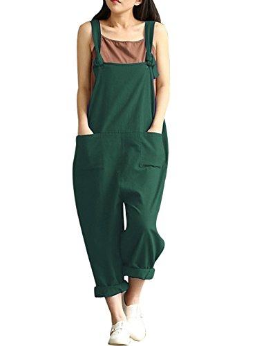 Yeokou Women's Linen Wide Leg Jumpsuit Rompers Overalls Harem Pants Plus Size (Large, Style12Green)