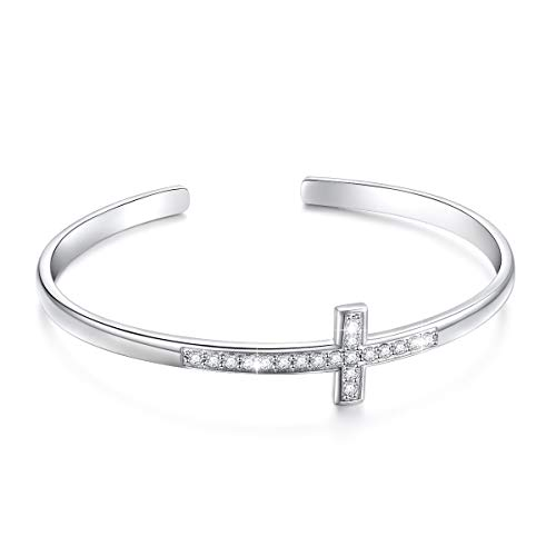 S925 Sterling Silver Engraved Faith Hope Love Inspirational Cuff Cross Bangle for Women Sister Girl (Style 2 White Gold Plated)