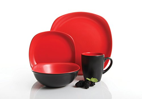 Gibson Home Tristen 16-Piece Dinnerware Set, Black and Red, Service for 4 (Black Dishes And Red)