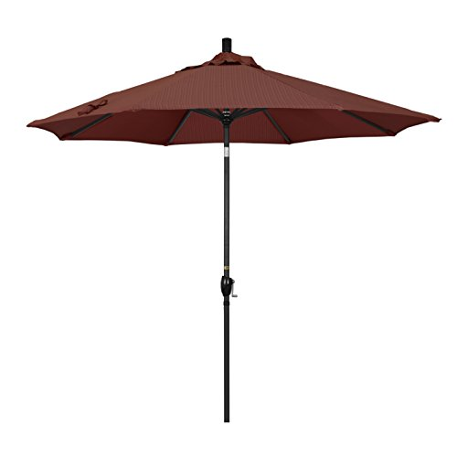 California Umbrella 9' Round Aluminum Market Umbrella, Crank Lift, Push Button Tilt, Black Pole, Terrace Adobe Olefin