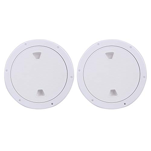 Amarine Made 2 Pack of Boat Round Non Slip Inspection Hatch,Detachable Cover and Pre-drilled Holes in Deck Plate Easily to Install (White, Opening Dia: 6)