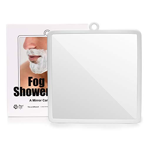 Fogless Shower Mirror with Protective Silicone Sheath for Shaving and Make-up,New Nano Fogless Technology That Real Works, Multi-Colors Option (white)