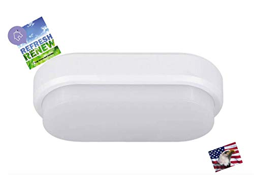 iLett 12 Watts LED Ultra Compact Oval Flush Mount Ceiling Light and Bulkhead, 8 x 4 in, 960 lm, 6500K, CE ROHS, 85V-265V ()