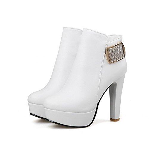 AllhqFashion Damen Rein Hoher Absatz Rund Zehe PU Leder Reißverschluss Stiefel Weiß
