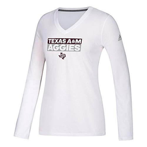 adidas Texas A&M Aggies NCAA Women's White Adi Box Logo Climalite Ultimate Tee Long Sleeve T-Shirt (Medium)