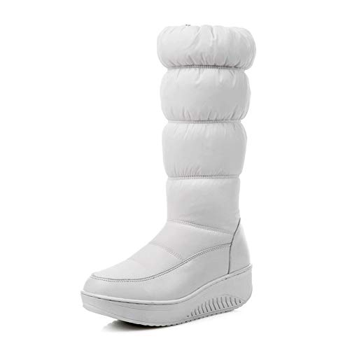 DETAIWIN Women's Mid Calf Snow Boot Warm Thick Sole Faux Fur Round Toe Pull On Winter Down Booties Platform Flat Boots