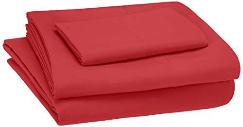 AmazonBasics Kid's Sheet Set - Soft, Easy-Wash Microfiber - Twin, Red (Twin Clearance Sets Sheet)
