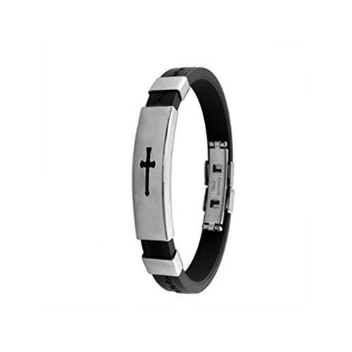MoAndy Titanium Stainless Steel Silica Gel Fashion Bracelet The Cross Korean Style White For Men 8.5 Inch