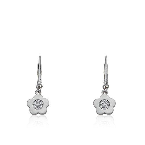 Little Miss Twin Stars Little Miss Flower Girl Satin RhodiumCZ Filled Small Flower Dangle Earring/