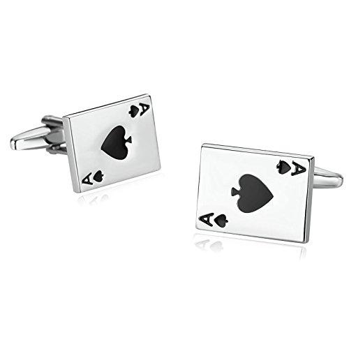 Aooaz Cufflinks for Men Stainless Steel Cufflinks Ace Heart Playing Poker Card Silver Black (Stainless Steel And Sterling Silver Cufflinks)