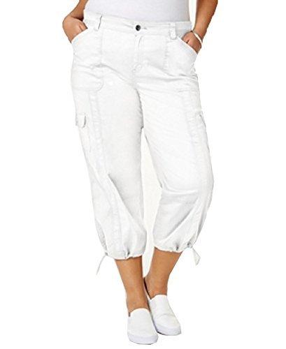 Style & Co.. Womens Plus Cargo Casual Capri Pants White 24W