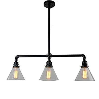 UNITARY BRAND Black Antique Rustic Glass Shade Hanging Ceiling Metal Pendant Light Max. 120W With 3 Lights Painted Finish