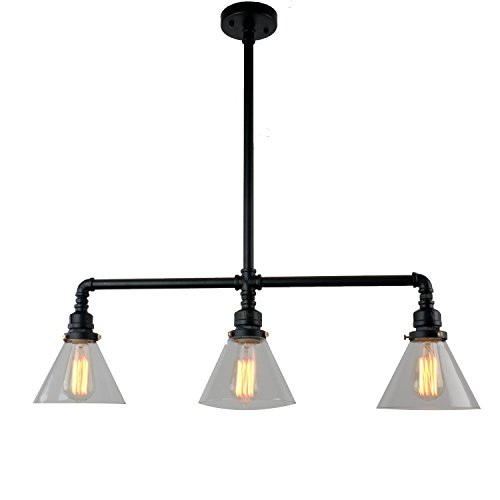 Traditional 3 Light Island (UNITARY BRAND Black Antique Rustic Glass Shade Hanging Ceiling Metal Pendant Light Max. 120W With 3 Lights Painted Finish)