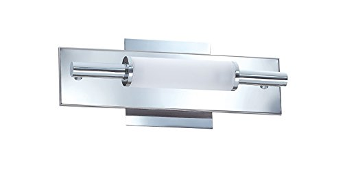 Kendal Lighting VF3500-2L-CH Tubo 2-Light Vanity Fixture, Chrome Finish and Frosted Tube Glass ()