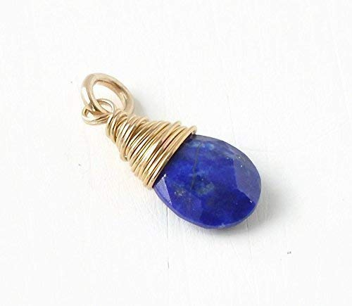 September Birthstone Charm for Necklace or Bracelet - Small Genuine Lapis Lazuli Pendant Wire Wrapped in Gold Fill