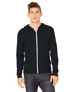 Bella Hooded Sweatshirt - Triblend Lightweight Hoodie (Solid Black TriBlend) (Medium)